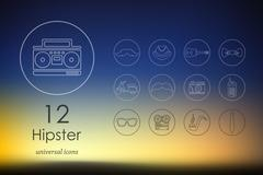 Set of hipster icons - stock illustration