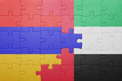Puzzle with the national flag of united arab emirates and armenia Stock Photos