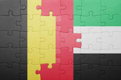 Puzzle with the national flag of united arab emirates and belgium Stock Photos