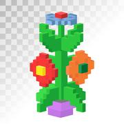 Isometric vew flower stable pixel art vector icon - stock illustration