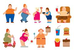 Fat people vector flat silhouette icons - stock illustration