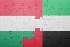 Stock Photo of puzzle with the national flag of united arab emirates and hungary