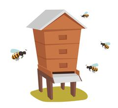 Apiary honey bee house apiary vector illustrations - stock illustration