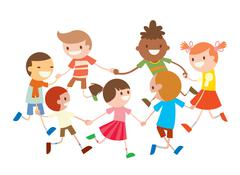 Children round dancing. Party dance in baby club illustration Stock Illustration