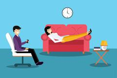 Psychologist office cabinet room vector illustration - stock illustration