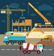 Building under construction, workers and construction technics vector - stock illustration