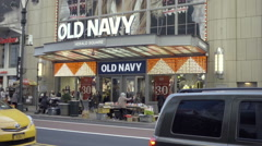 Old Navy clothing store exterior on 34th st in Manhattan NYC 1080 HD Stock Footage