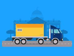 Delivery vector transport truck van and gift box pack - stock illustration