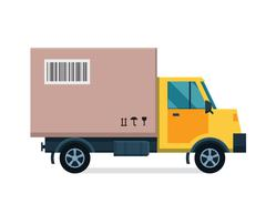 Delivery vector transport truck van and gift box pack Stock Illustration
