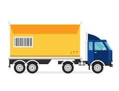 Stock Illustration of Delivery vector transport truck van and gift box pack