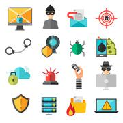 Computer internet safety vector icons Stock Illustration