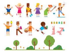 Spring Easter kids playing outdoor - stock illustration