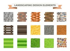 Landscaping garden design elements - stock illustration