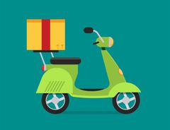 Stock Illustration of Delivery vector transport moto bike motorcycle box pack