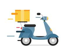 Delivery vector transport moto bike motorcycle box pack - stock illustration