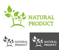 Natural eco organic product label badge vector icon - stock illustration