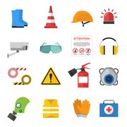 Safety work vector icons flat style Stock Illustration