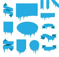 Collection of frozen icicle snow winter vector banner Stock Illustration