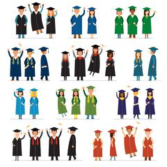 Graduate people flat silhouette vector icons - stock illustration
