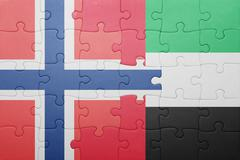 puzzle with the national flag of united arab emirates and norway - stock photo