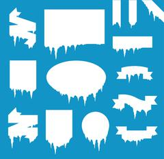 Collection of frozen icicle snow winter vector banner - stock illustration