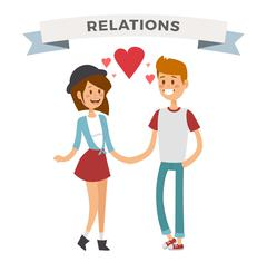Boy and girl happy family couple in love Stock Illustration