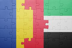 Puzzle with the national flag of united arab emirates and romania Stock Photos