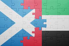 Puzzle with the national flag of united arab emirates and scotland Stock Photos