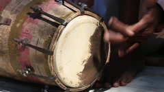 Drums hands, movement, rhythm. Rishikesh. India. Close up Stock Footage