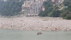 Stock Video Footage of Indian people rafting in Ganges River, Rishikesh, India