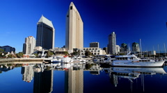 San Diego boats and early morning zoom in waterfront Stock Footage