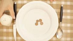 Dinner poor cents - stock footage