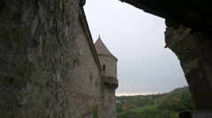 Tower and the exterior wall of Corvin Castle, Hunedoara Stock Footage