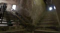 Medieval staircases at Corvin Castle, Hunedoara Stock Footage