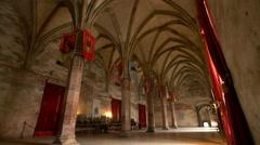 Throne Hall at Corvin Castle, Hunedoara Stock Footage