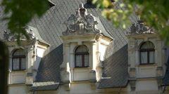 Ornate attic windows at Peles Castle Stock Footage