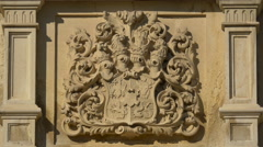 Stock Video Footage of Knight's coat of arms on the wall of the Peles Castle