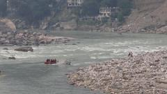 Indian people rafting in Ganges River, Rishikesh, India Stock Footage