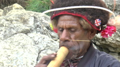 Papua New Guinea Tobacco smoking Pipe Stock Footage
