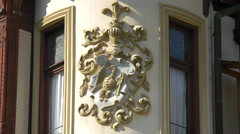 Neo Baroque sculpture on the wall of Peles Castle - stock footage