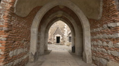 Brick gate entrance to Corvin Castle's inner yard, Hunedoara Stock Footage