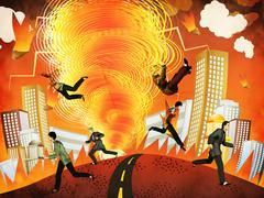 Apocalyptic tornado - stock illustration