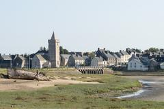 View of Portbail, France, Normandy in tidal Stock Photos