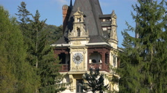 Clock tower of Peles Castle Stock Footage