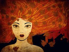 Autumn girl grunge background Stock Illustration