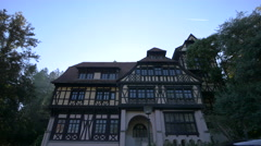 Building near the Peles Castle Stock Footage