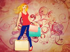Blond woman with shopping bags Stock Illustration
