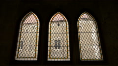 Simple stained glass windows at Corvin Castle, Hunedoara Stock Footage