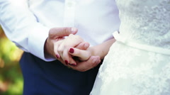 Hands newlywed nature Stock Footage