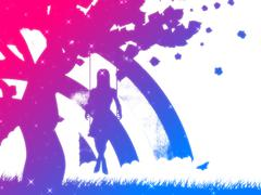Colorful girl on swing silhouette - stock illustration